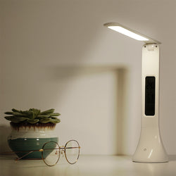 Foldable Dimmable Touch Table Lamp - with Calendar Temperature Alarm Clock