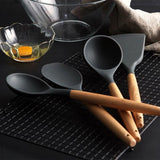 Simple Wooden Silicone Kitchen Tools