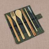 6-piece Wooden Cutlery Set With Bag