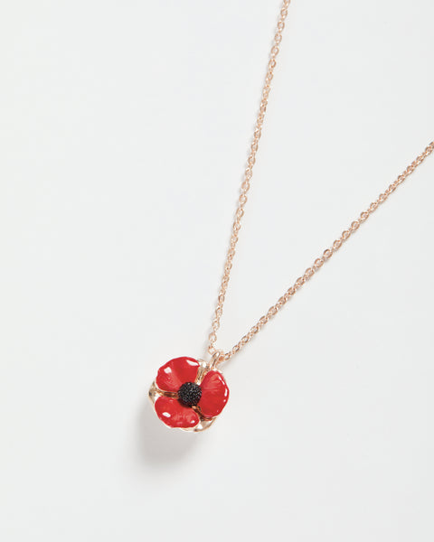 Enamel Short Poppy Necklace