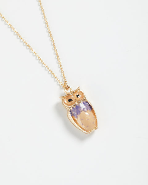 Enamel Owl Long Necklace