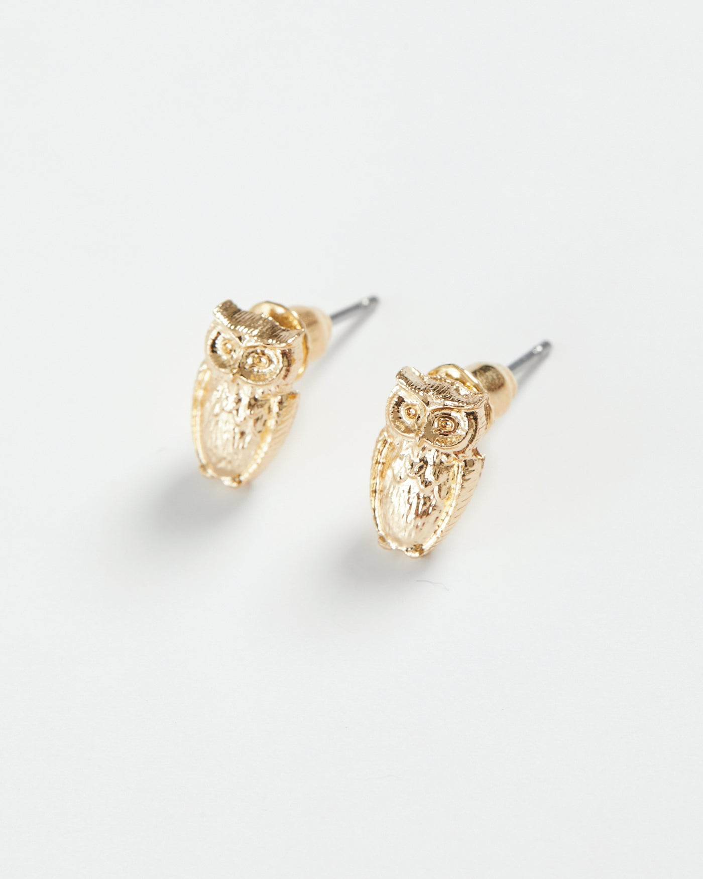 Gold Owl Stud Earrings