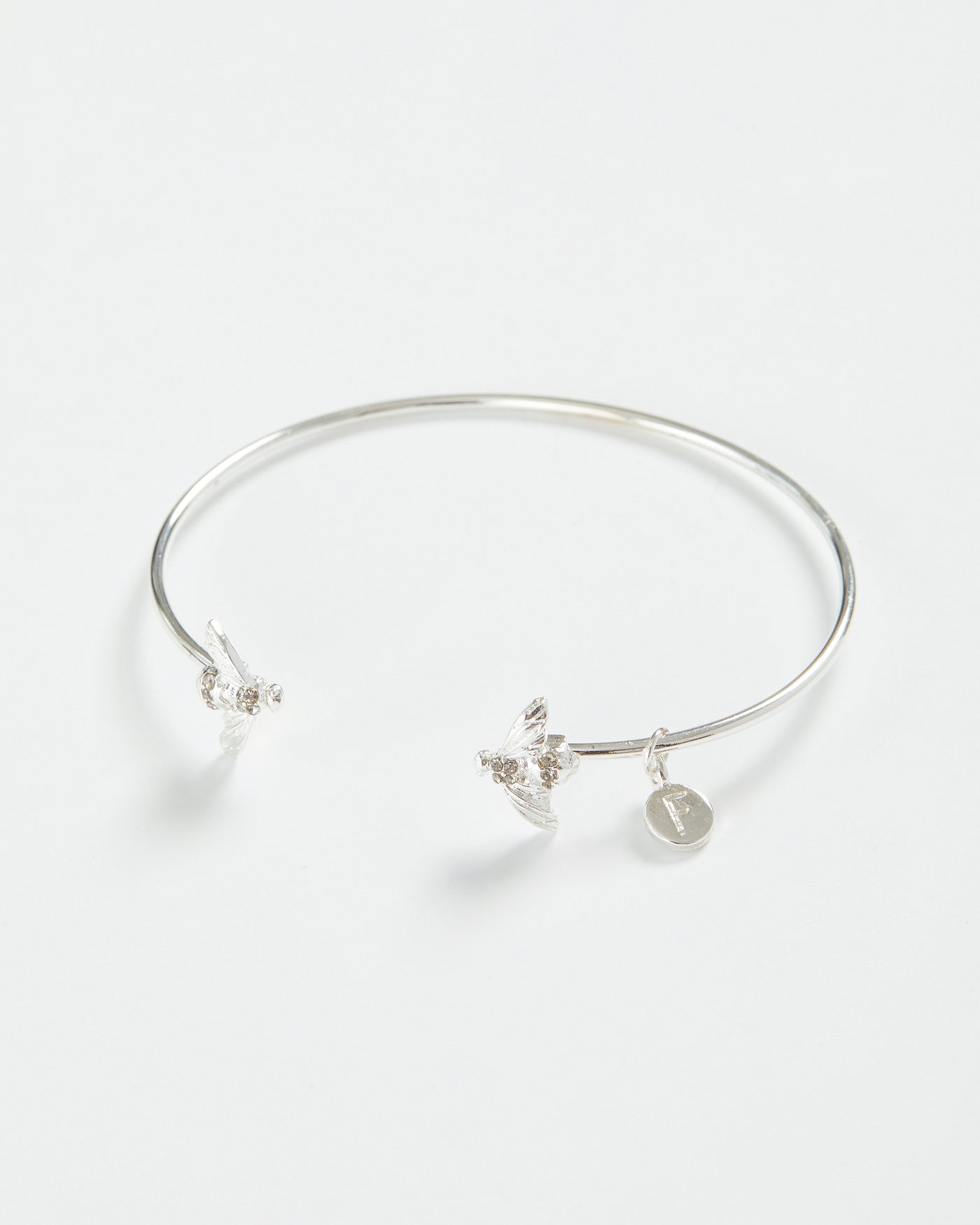 Silver Pave Bee Bangle