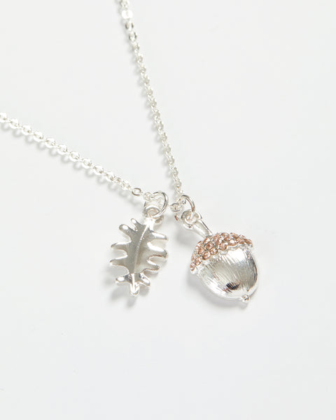 Silver Acorn Short Necklace
