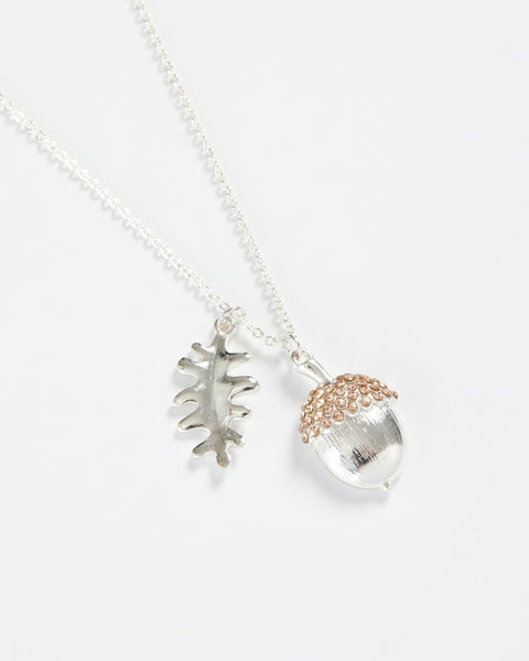 Silver Acorn Long Necklace
