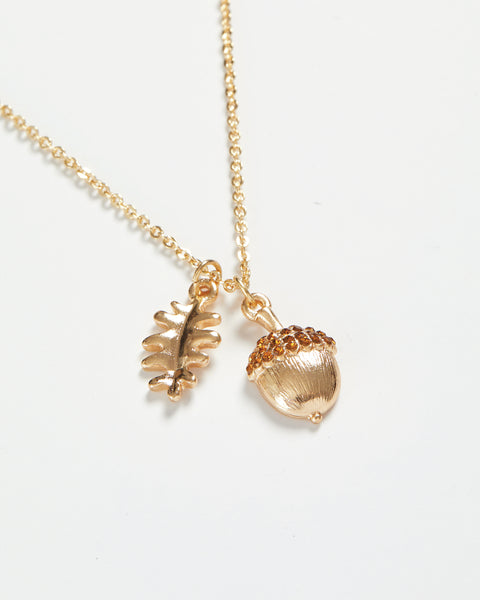 Gold Acorn Long Necklace