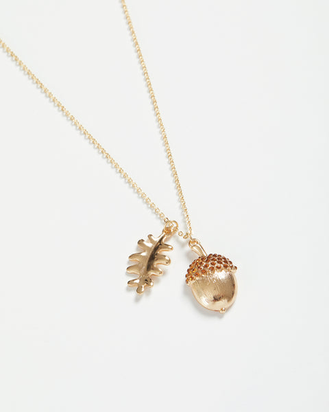 Gold Acorn Short Necklace
