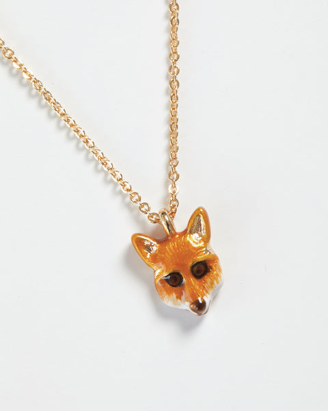 Enamel Fox Short Necklace