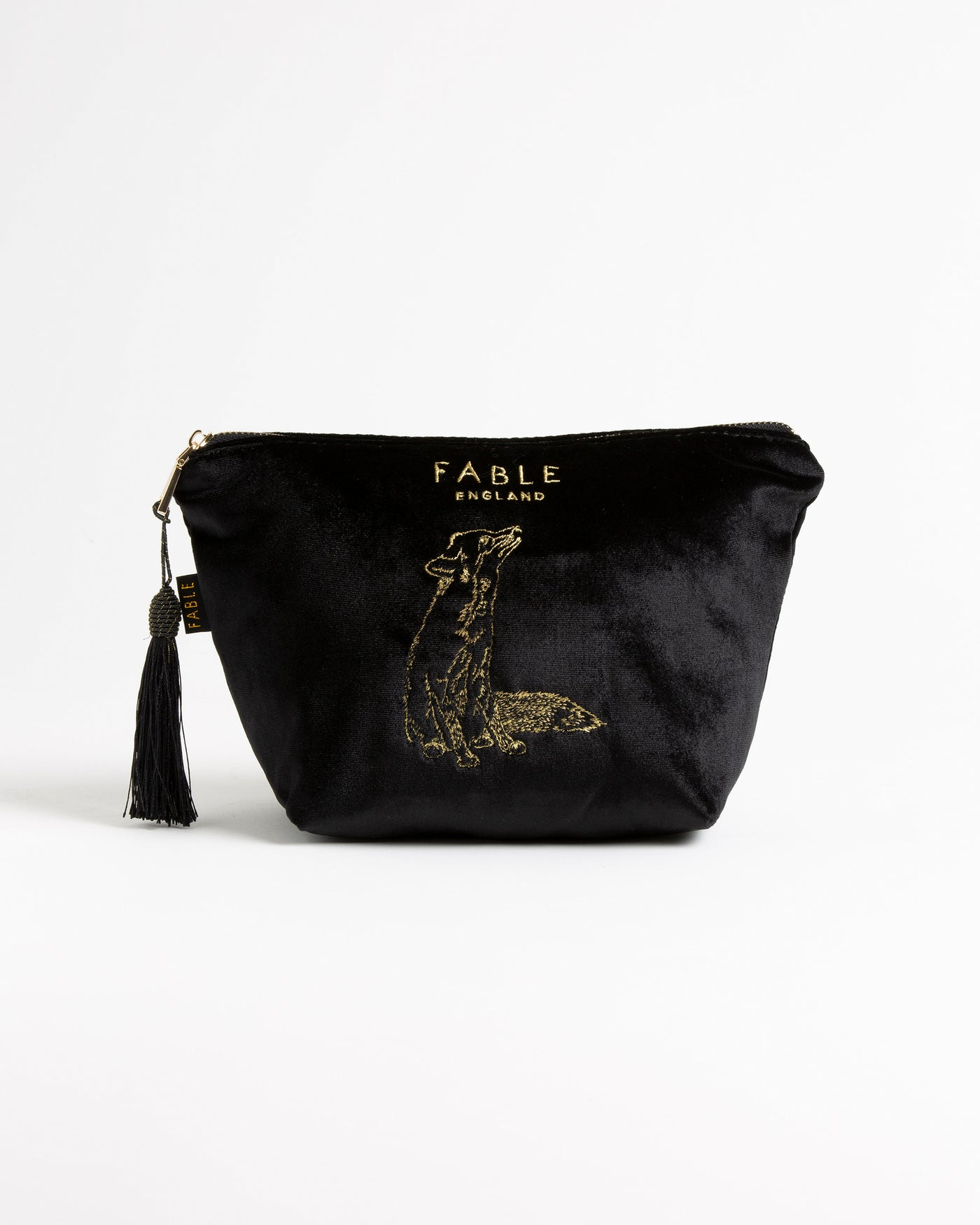 Black Velveteen Fox Large Makeup Bag