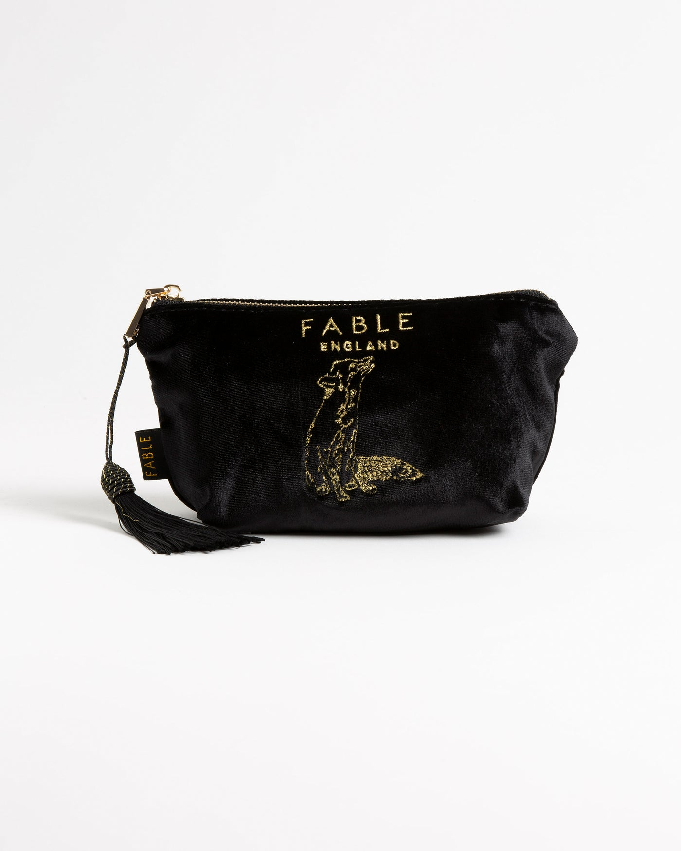 Black Velveteen Fox Makeup Bag