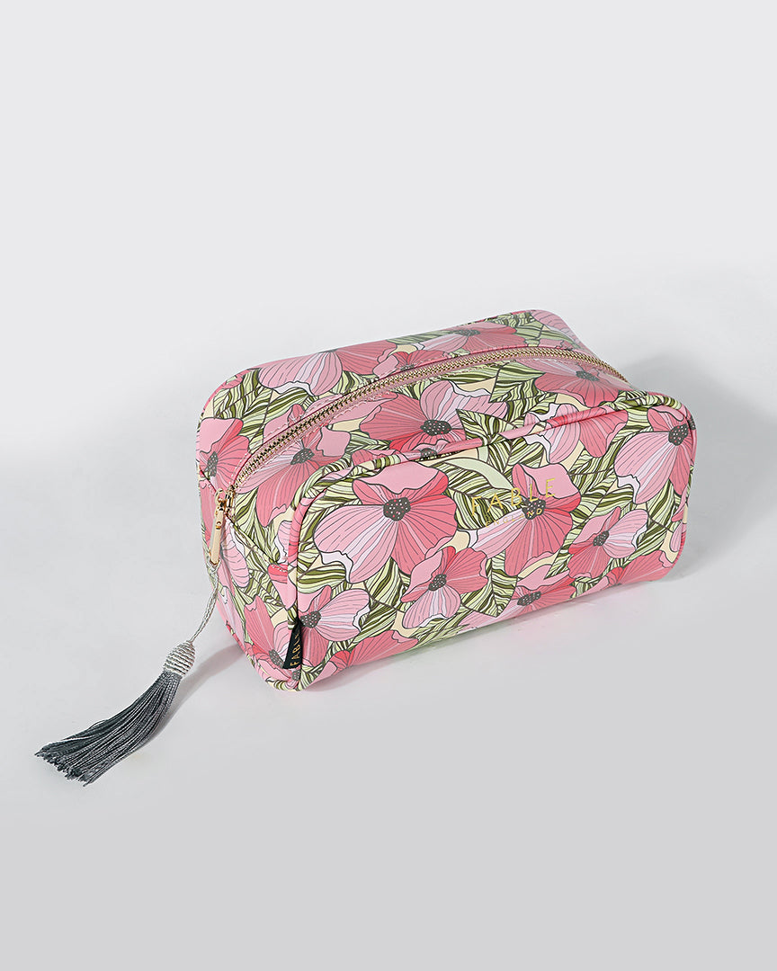 Summer Poppy Boxy Cosmetic Bag