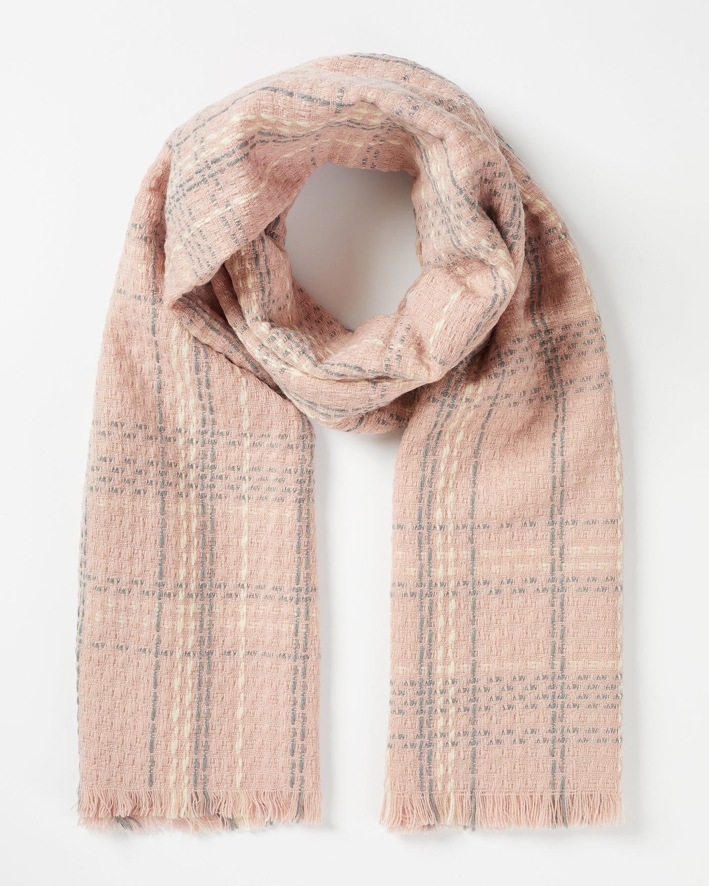 Pink Check Woven Scarf