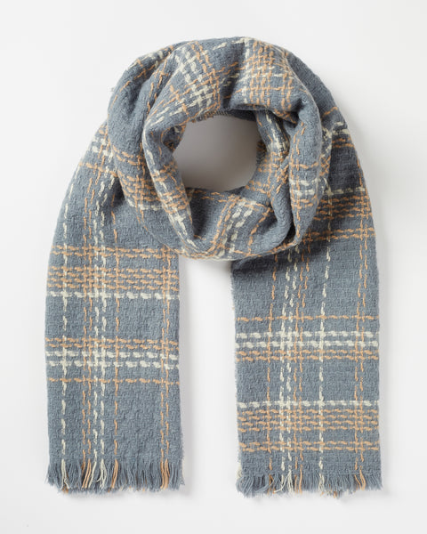 Steel Blue Check Woven Scarf