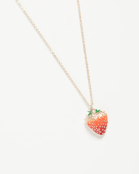 Enamel Strawberry Long Necklace