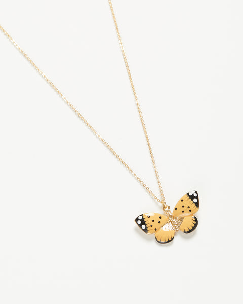 Enamel Butterfly Long Necklace
