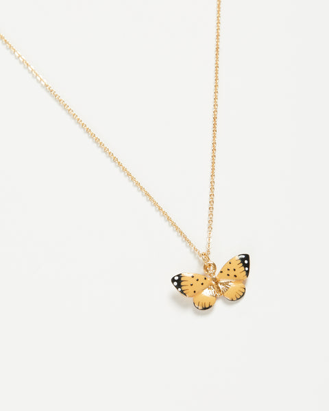 Enamel Butterfly Short Necklace