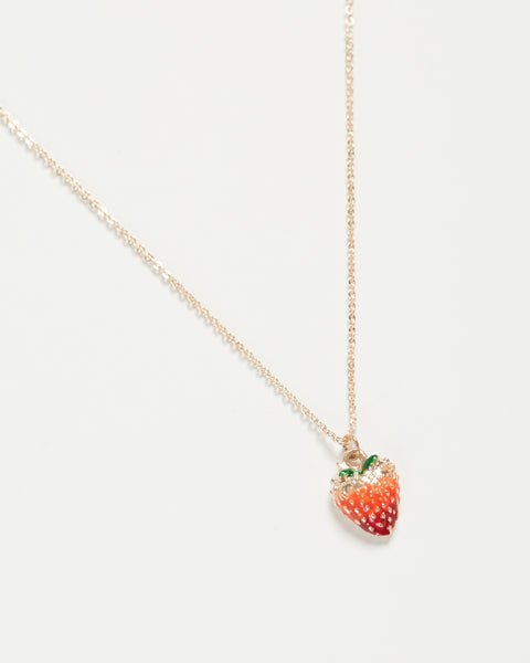 Enamel Strawberry Short Necklace