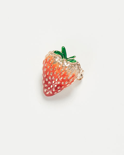 Enamel Strawberry Brooch