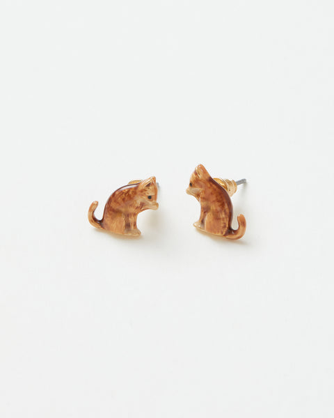 Enamel Ginger Cat Stud Earrings