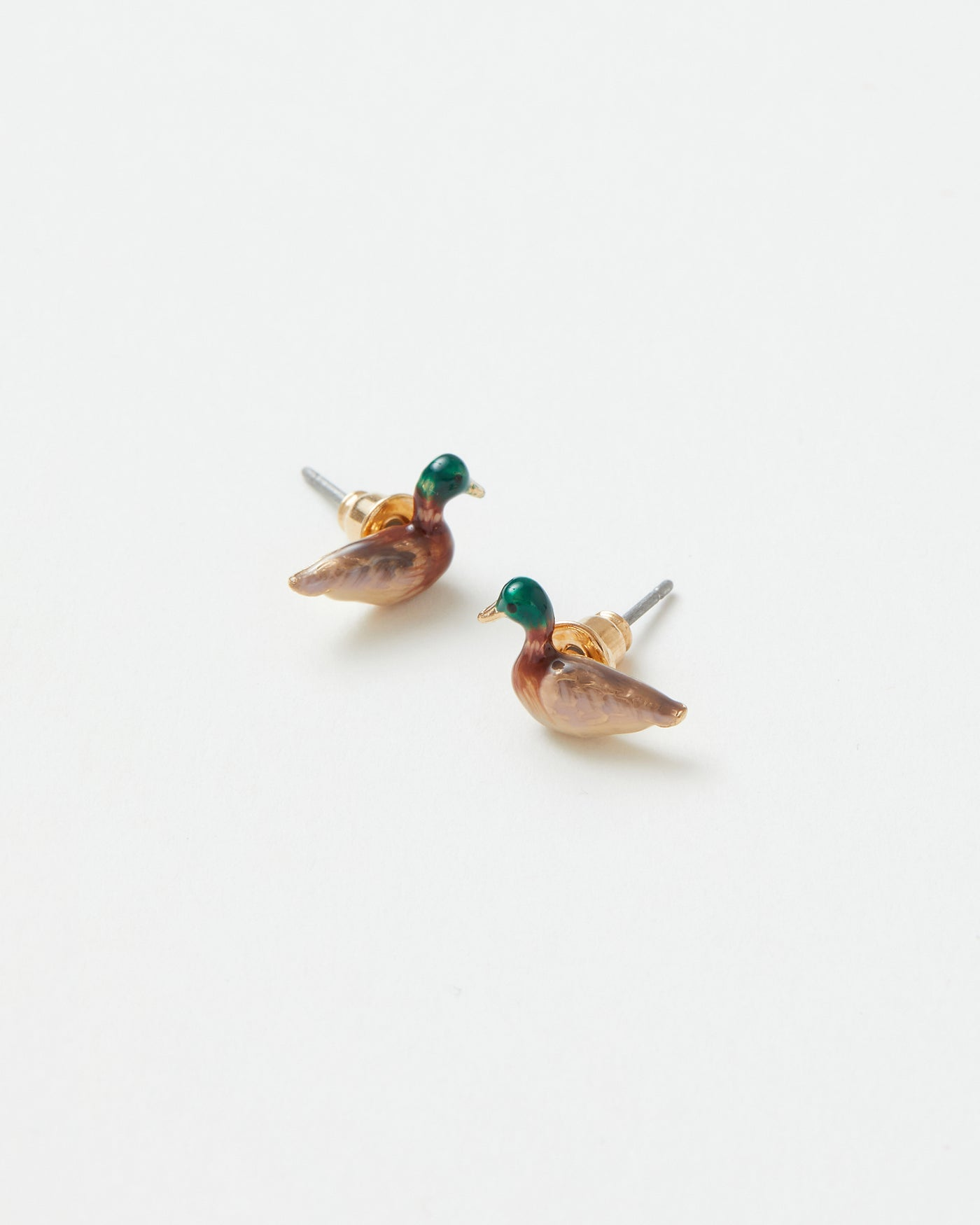 Enamel Mallard Duck Stud Earrings