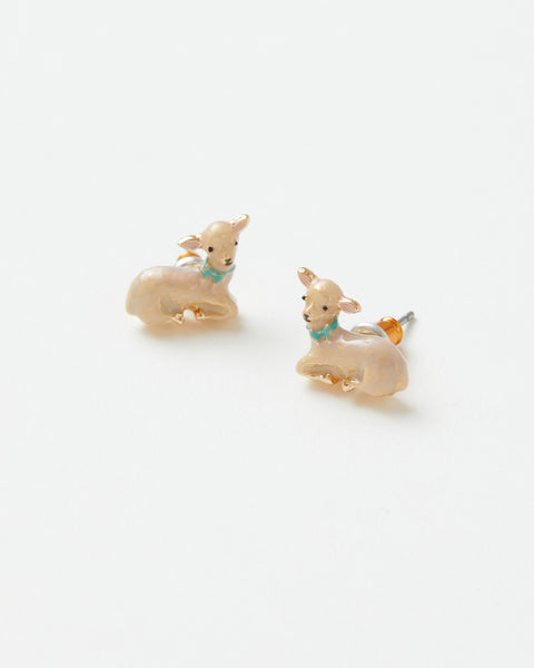 Enamel Lamb Stud Earrings