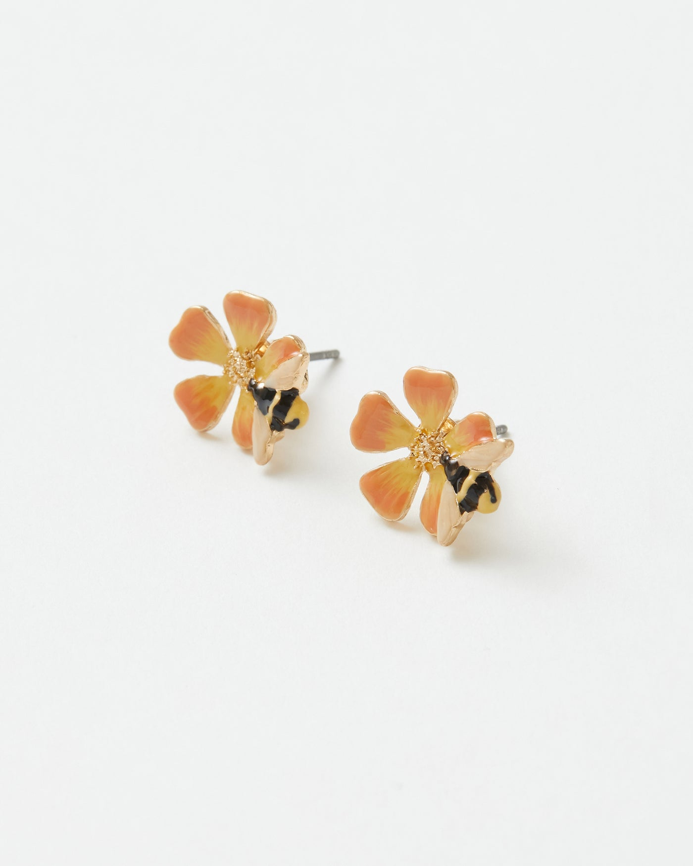 Enamel Bloom & Bee Stud Earrings
