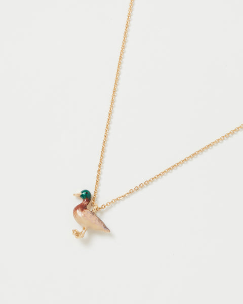 Enamel Mallard Duck Short Necklace