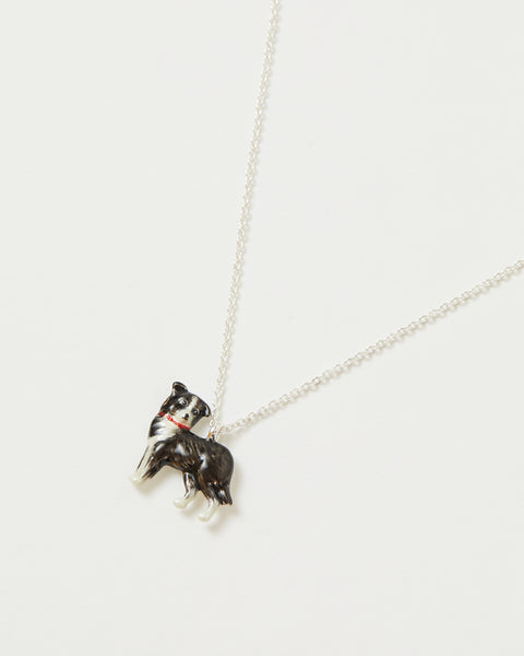 Enamel Collie Dog Short Necklace