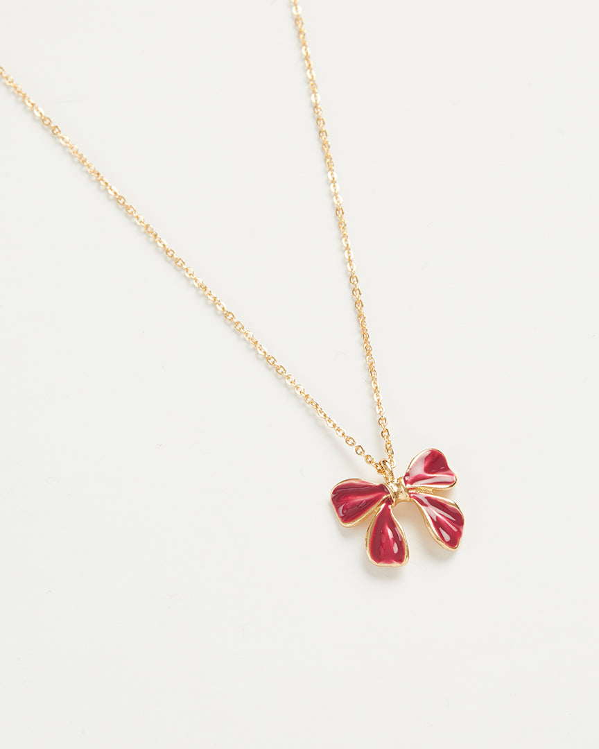Enamel Bow Long Necklace