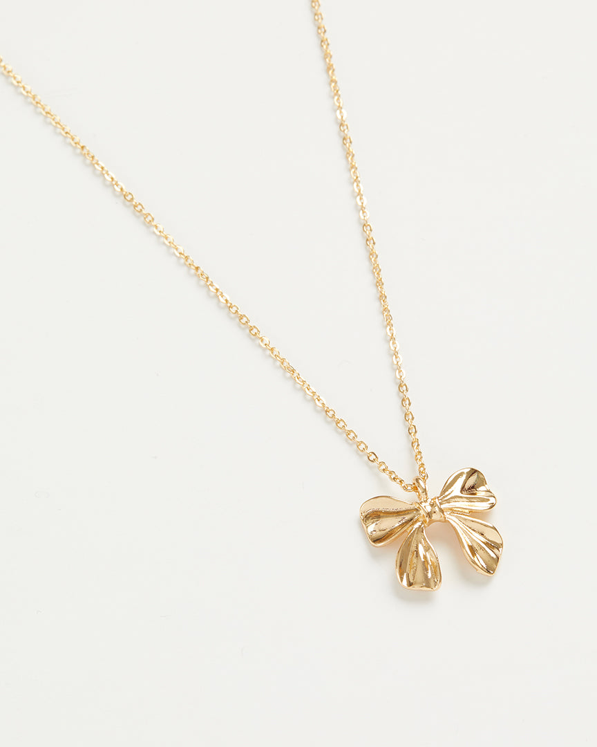 Gold Bow Long Necklace