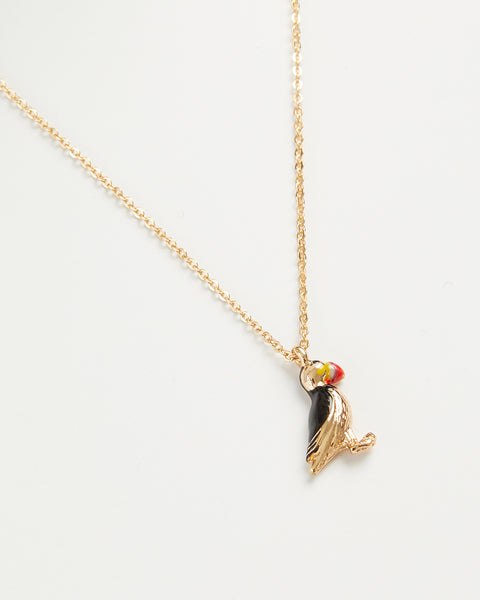 Enamel Puffin Short Necklace