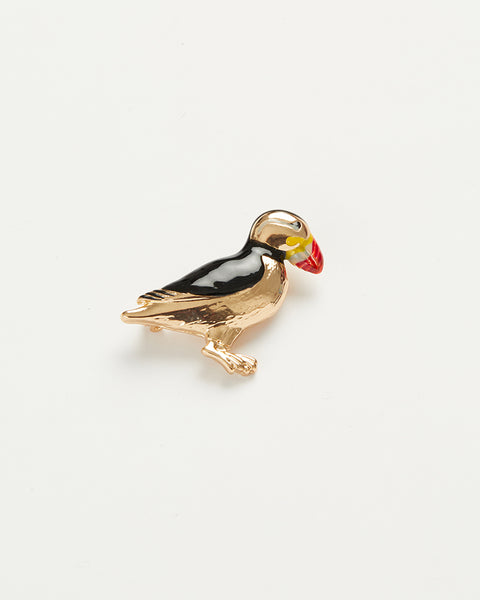 Enamel Puffin Brooch