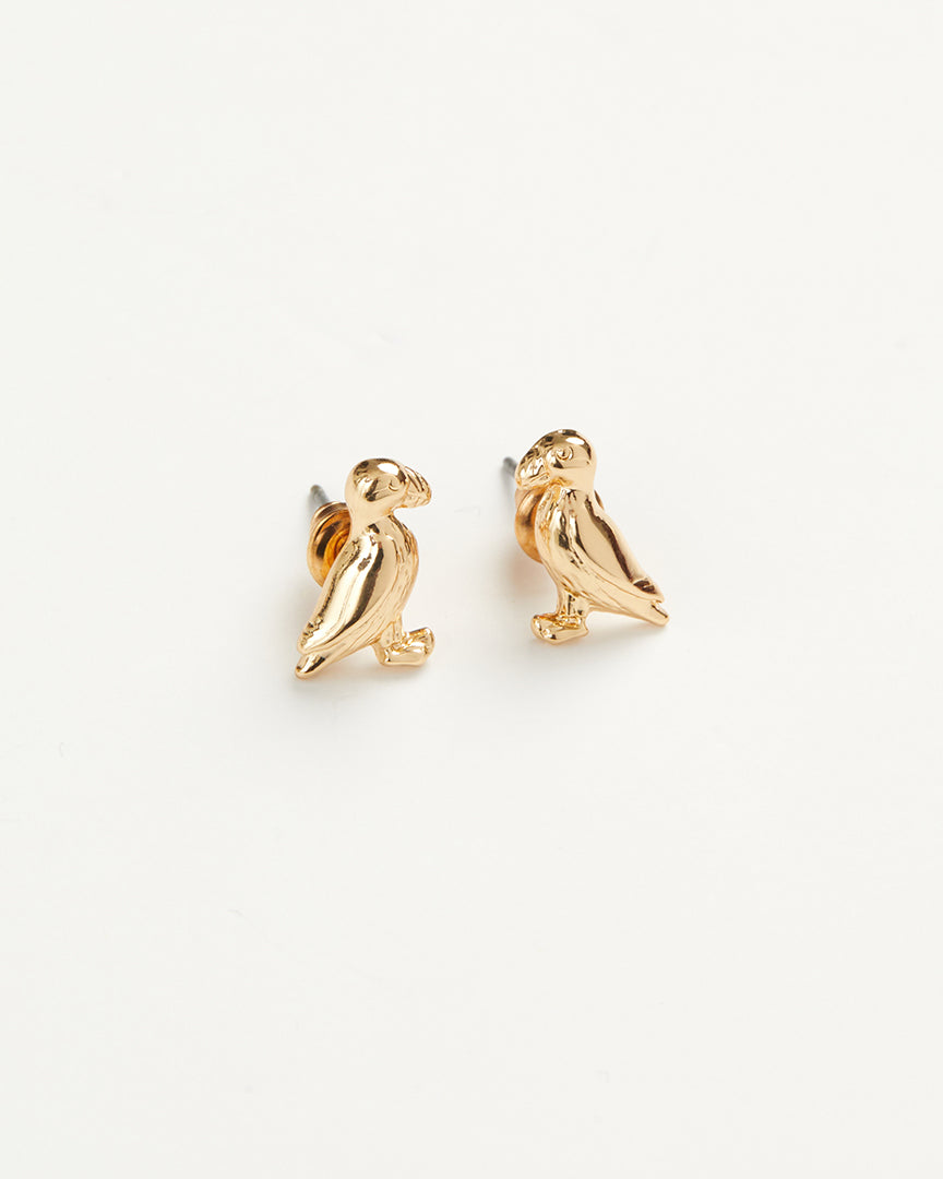Gold Puffin Earrings