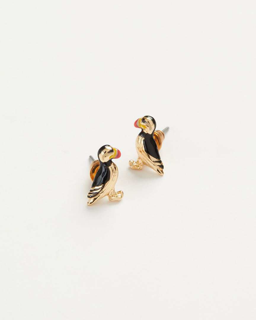 Enamel Puffin Earrings
