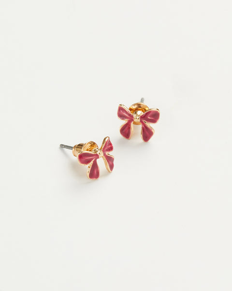 Enamel Bow Earrings