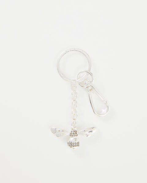 Silver Pave Bee Key Ring