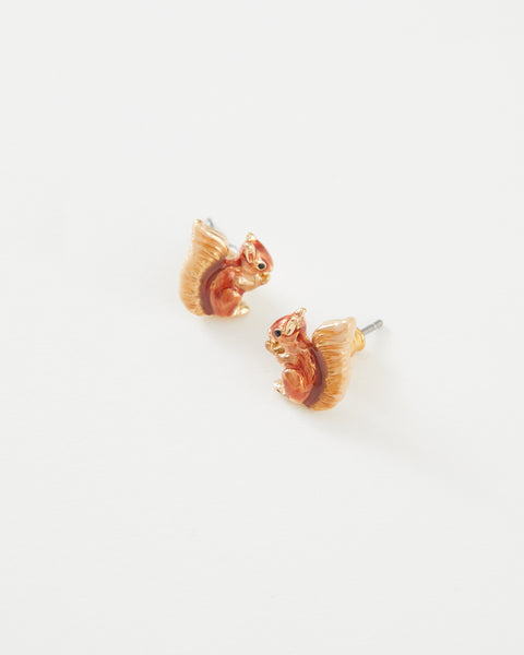 Enamel Red Squirrel Earrings
