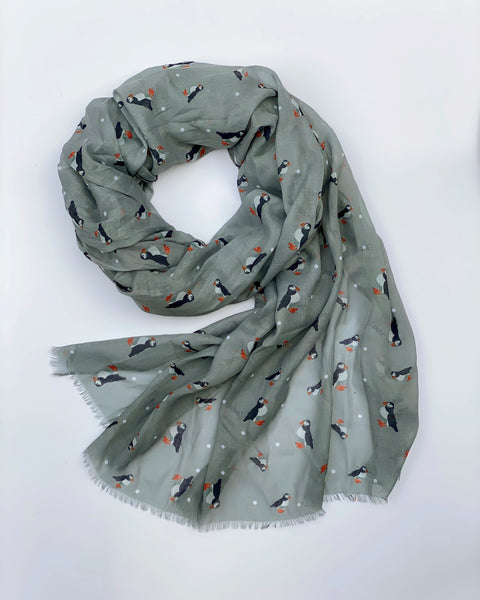 Grey Puffin Scarf