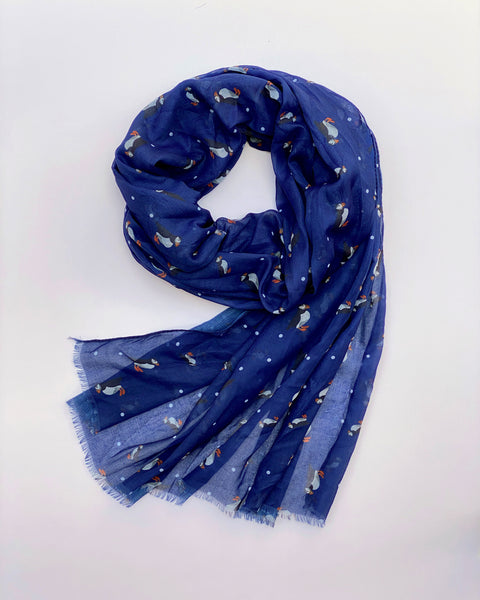 Denim Puffin Scarf