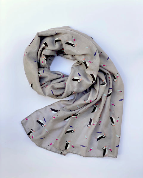 Grey Rainbow Puffin Scarf