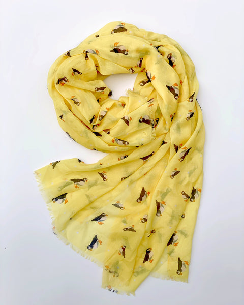 Lemon Puffin Scarf