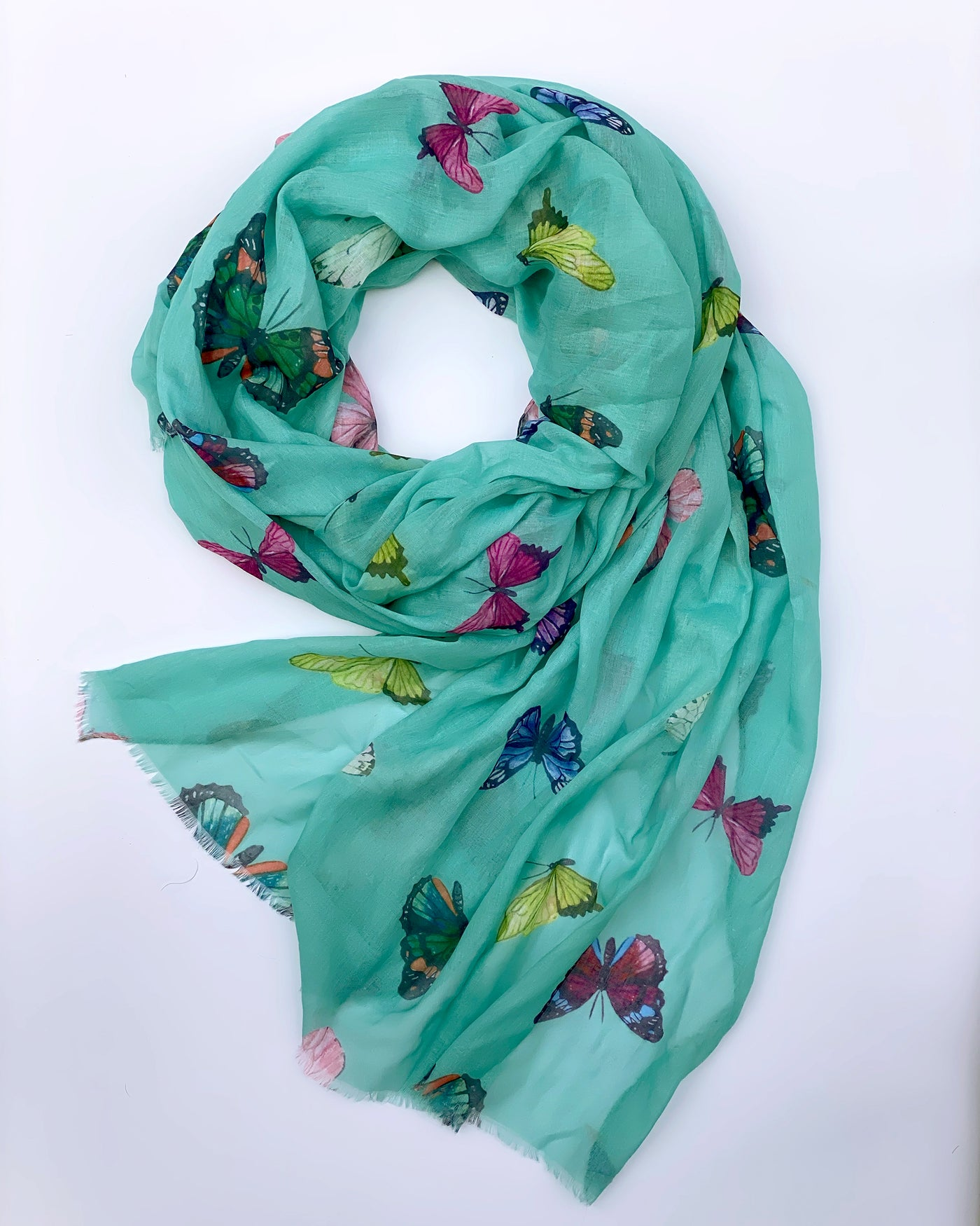 Teal Butterfly Garden Scarf