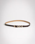 Brown Leather Chevron Skinny Belt