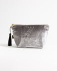 Grey Velveteen Fox Large Makeup Bag