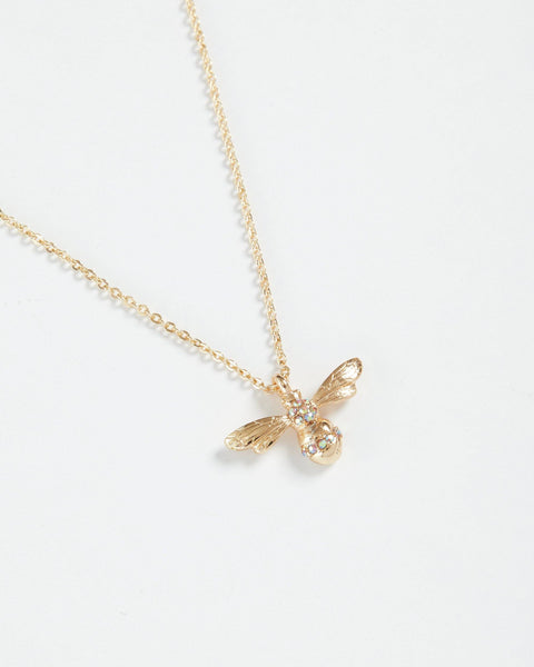 Gold Pave Bee Short Necklace Jewellery Fable