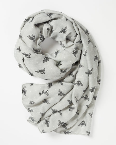 Grey Bumble Bee Print Scarf Scarf Fable