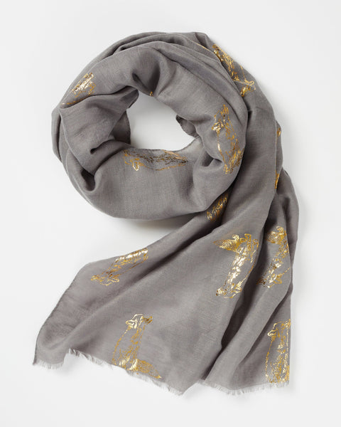 Grey Metallic Signature Fox Print Scarf Scarf Fable
