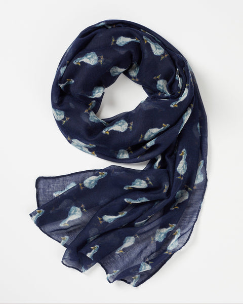 Navy Quackers Duck Print Scarf Scarf Fable