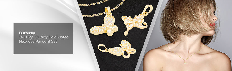 flying butterfly pendant set