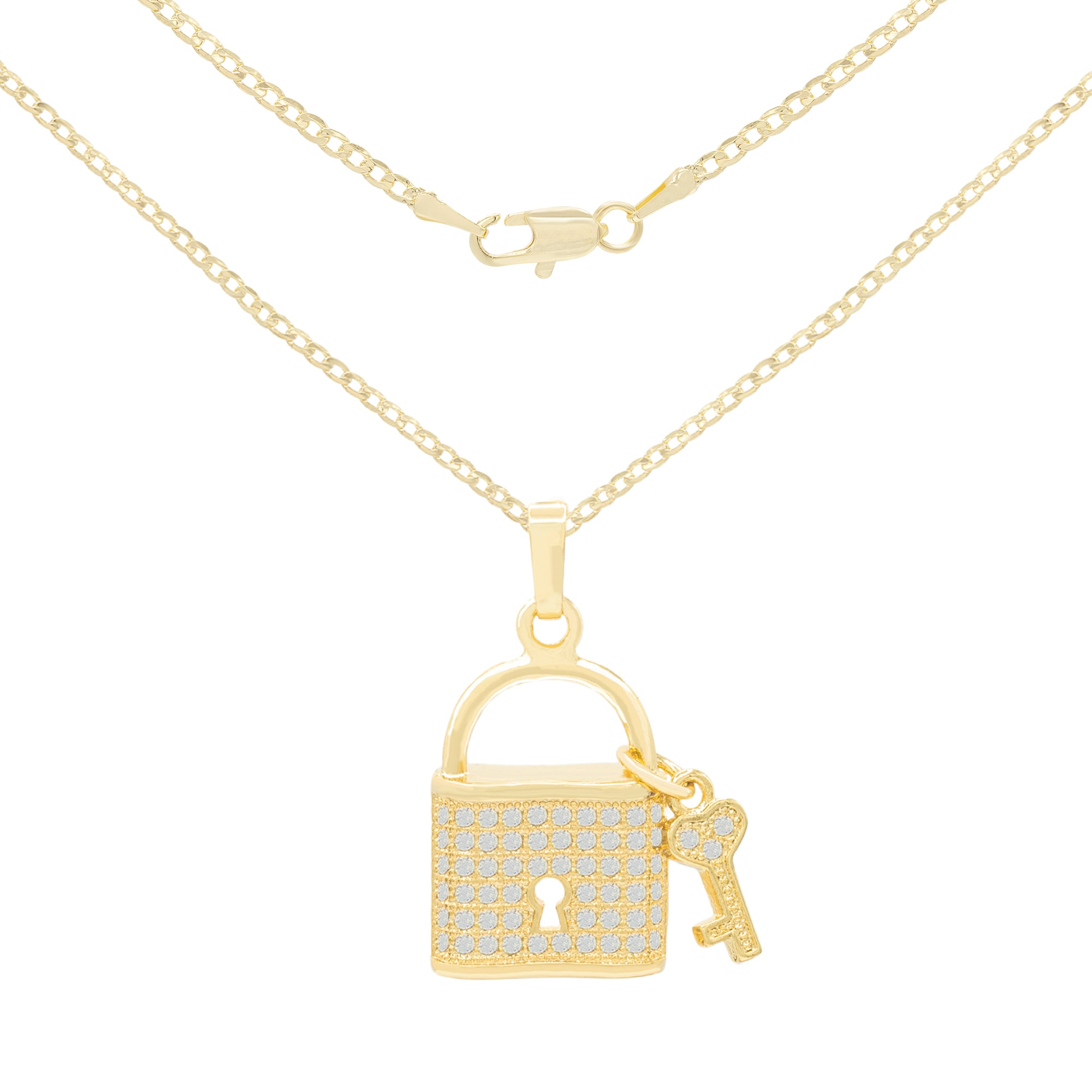 gold filled lock pendant set